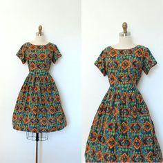 Vintage 1960s Dress / 60s Batik Print Cotton by lapoubellevintage, $78.00 LOVE the colours!