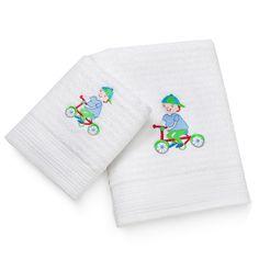 toalha de banho infantil bordada menino bicicleta. R$ 29,90 - R$ 59,90 http://www.alfaias.com.br
