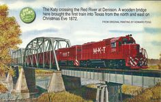 Katy crossing the Red River at Denison, Texas Texas History, Family History, Railroad Photography, Train Art, Red River, Dallas Texas, Model Trains, Missouri, Denison Texas
