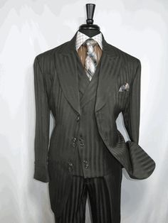 """Milano Moda SL29197v """"Brown Chocolate"""" Vested  Men's Suit 6 button Single Breasted Suit Jacket Satin Striped with Wide Peak Lapel and matching Vest and WIDE LEG Pleated Pants  lined to the knee available for $169.99 @ BerganBrothersSuits.com"""