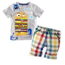Hamburgo bebê criança verão de manga curta Tops roupas xadrez calças roupa(China (Mainland))
