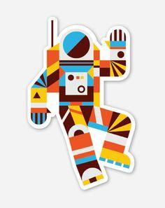 Hello Spaceman Vinyl Sticker
