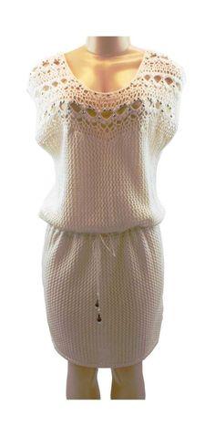 Moda International Victoria's Secret Embellished Cotton Crochet Ivory L Dress #ModaInternational #Sundress