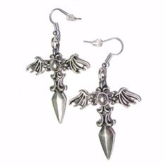 Gothic Cross Daggers w/Bat Wings Silver Plated Charm Hook Earrings Cute Jewelry, Jewelry Accessories, Gothic Crosses, Ring Necklace, Earrings, Grunge Dress, Gothic Jewelry, Clothing Items, Jewelery