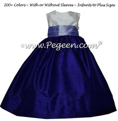Flower Girl Dresses in Lilac and Royal Purple Silk by Pegeen