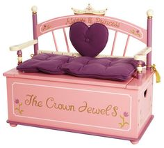 The Princess Toy Box Bench is a unique child's bench and toybox all in one. Her Royal Highness will be delighted to store her treasures in this beautiful toy box bench! The toy box bench features a re