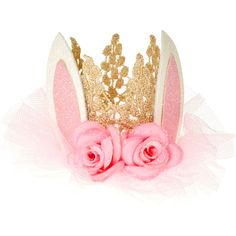 Bunny Ears Crown Hair Clip ($9.99) ❤ liked on Polyvore featuring accessories, hair accessories, hair clip accessories, crown hair accessories, crown hair clip and barrette hair clip