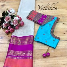 Flaunt your blouse with a intricate embroidery ! Flaunt your blouse with a intricate embroidery ! Wedding Saree Blouse Designs, Best Blouse Designs, Saree Blouse Neck Designs, Saree Blouse Patterns, Skirt Patterns, Coat Patterns, Sewing Patterns, Saree Tassels Designs, Simple Embroidery Designs