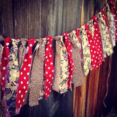 Sock Monkey Rag Tie Garland - Torn Fabric Banner