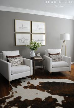 Adding Some Slightly Darker Touches to Our Home Office - Dear Lillie Studio Small Sitting Areas, Bedroom With Sitting Area, Living Room Chairs, Living Room Decor, Bedroom Decor, Home Room Design, Living Room Designs, Bedroom Seating, Home Office
