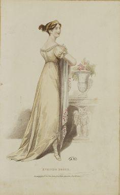 Look at how her dress is pinned up! Regency Dress, Regency Era, Jane Austen, Yellow Ballgown, Renaissance, Fashion Illustration Vintage, Empire Style, Traditional Fashion, Edwardian Era