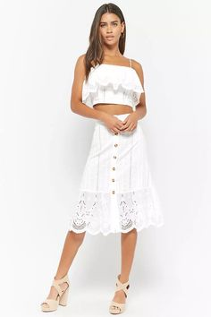 Flounce Eyelet Midi Skirt | Forever21