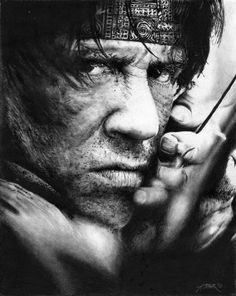 Stallone - Rambo by on DeviantArt Rocky Balboa Poster, Sylvester Stallone Rambo, Silvester Stallone, Westerns, The Expendables, Actress Christina, Tough Guy, Black And White Drawing, Best Actor