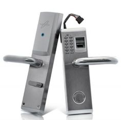 The new ultimate solution in business and home security, the Aegis Premium Fingerprint Door Lock. This biometric door lock with deadbolt features 3 forms of entry (fingerprint, access code, and key) for when only the highest quality in door entr. Biometric Devices, Keyless Locks, Smart Door Locks, Security Door, House Security, Smart Home, Bad, Accessories, Technology
