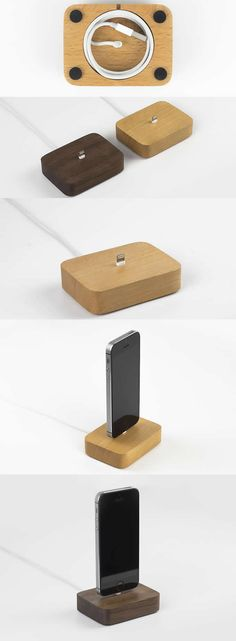 Wooden Charge Cable Organizer iPhone Cell Phone Charging Charge Data Sync Desktop Charge Station Dock Stand Holder