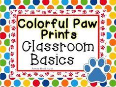 Neon Bright Paw Prints Classroom Basics Decor by Renee Hebb Classroom Schedule Cards, Classroom Jobs, Classroom Supplies, Primary Classroom, Classroom Design, Classroom Organization, Classroom Decor, School Spirit Crafts, Pencil Labels