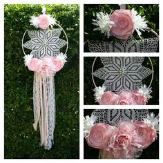 Pink and white dream catcher.
