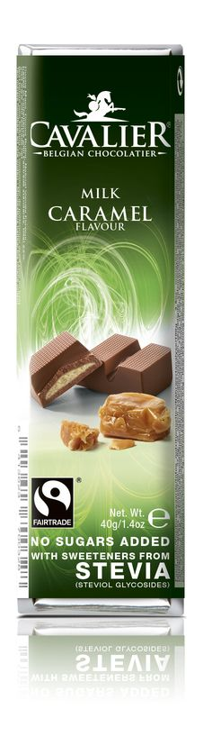 Bar with sweeteners from Stevia, milk chocolate with caramel filling. Cavalier the pioneer in no sugars added chocolate.