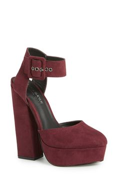Burgundy sandals are perfect this season. Pair them with embossed tights and a faux fur vest for a casual yet stylish look.