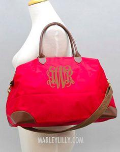 Monogrammed Red Weekend Travel Bag