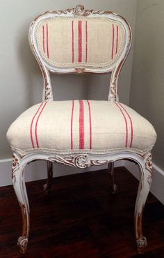 Follow us on Facebook so see more of our french upholstered pieces!  https://m.facebook.com/chalkandfable/   French antique chair painted and upholstered in European grain sacks.  Painted & upholstered by Andrea Duffy