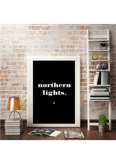 """Typography Art Print """"Northern Lights"""" - Nordic Design Poster Style - Black and White Minimal Wall Art - Printable Quotes - Instant Download"""