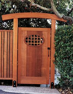 Asian-inspired gate designed by Julian Hodges, Berkeley, California. From FineHomebuilding Issue page 115 Asian-inspired gate designed by Julian Hodges, Berkeley, California. From FineHomebuilding Issue page 115 Backyard Gates, Garden Gates And Fencing, Garden Doors, Fence Gate, Asian Garden, Diy Garden, Shade Garden, Garden Projects, Wooden Garden Gate