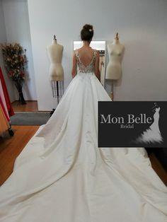 KRYSTYNA custom design plunging neckline satin wedding gown with cathedral train