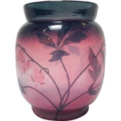 """Sevres Pink Art Glass Vase 5.75"""" from Antiques of River Oaks on Ruby Lane $1,200 - Questions Call: 713-961-3333"""