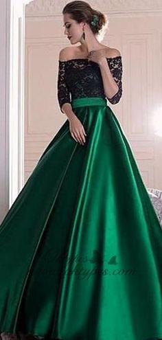 6b738da7188 Black Lace Top Off-the-shoulder Half Sleeves Green Satin A-line Prom Dresses