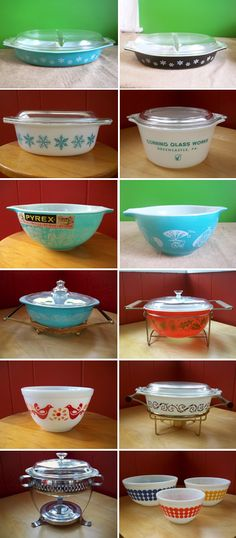Pyrex dishes, many with lids and stands.