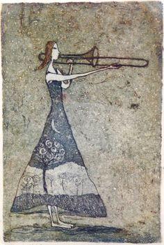 Emmi Vuorinen grafiikkaa teos/taulu Moonlight serenade - Life Art Oy Finnish Women, Silhouette, Water Lilies, Gravure, Greek Mythology, Love Art, Moonlight, Printmaking, Whimsical
