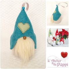Noël Suspension de Noël scandinave gnome elfe lutin vert sapin Décoration de noël Cadeau la décoration du sapin : Accessoires de maison par atelierpuppi