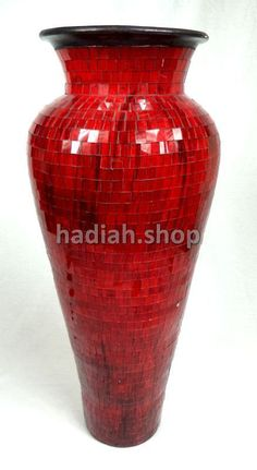Huge Hand Made 80cm Tall Red Glass Mosaic Floor Vase Flower Vase Pottery Mosiac