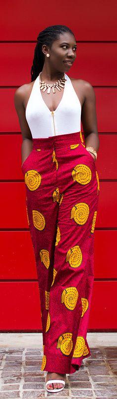 Ankara Wide Leg Pants / Fashion By Prissyville~ African fashion, Ankara, kitenge, Kente, African prints, Braids, Asoebi, Gele, Nigerian wedding, Ghanaian fashion, African wedding ~DKK