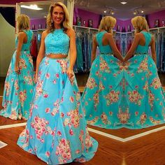 Sexy Two Piece Blue Appliques Ball Gown Printed Prom Party Dress for Women