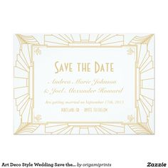 Art Deco Style Wedding Save the Date 5x7 Paper Invitation Card