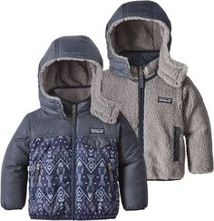 Patagonia Boy's Reversible Tribbles Hoodie Insulated Jacket - Toddler Boys' Navy Blue/Indigo Fish 2T