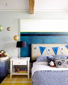 """5 tips to designing a timeless kids bedroom (""""This room doesn't get a ton of light,  (as you can see below) so I chose a medium tone on the walls (Half Moon Crest by Benjamin Moore). It's something that isn't too dark and won't frankly frighten him, but would be darker then just white (because, I'll say it again: white in a windowless space looks dead). """")"""