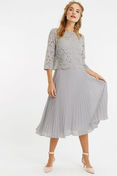 Buy Oasis Grey Lace Top Midi Dress from the Next UK online shop Burgundy Maxi Dress, Pink Midi Dress, Pleated Midi Dress, Midi Dress With Sleeves, Dresses For Sale, Dresses For Work, Summer Dresses, Dress Work, Concert Dresses