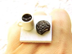Coffee Ring Kawaii Cute Food Jewelry Ring by SouZouCreations, $12.50
