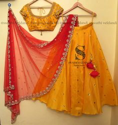 Beautiful yellow color lehenga and blouse with red net dupatta. Lehenga and blouse with hand embroidery mirror work. Half Saree Lehenga, Lehenga Gown, Lehnga Dress, Party Wear Lehenga, Indian Lehenga, Kids Lehenga, Lehenga Blouse, Bridal Lehenga, Half Saree Designs