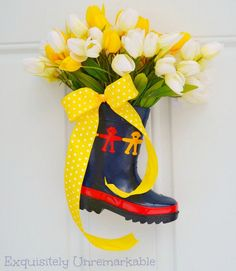 Rain Boot Filled With Tulips For Spring