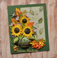 Festive Autumn quilled card with Bright Sunflowers - Thanksgiving quilling card - Quilled card
