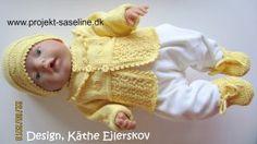 Baby born opskrifter 43 cm. trøjesæt med hue og udesokker i fin baby gul farve.