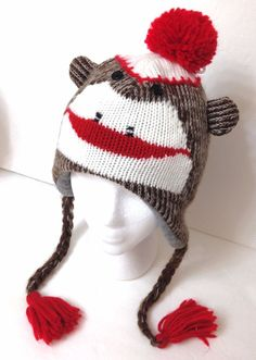 c294c7a217f4a Youth(can fit small adult women) MONKEY FACE EAR PERUVIAN BEANIE Winter  Knit Hat