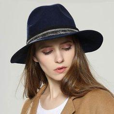 Ethnic fringe wide brim fedora hat for women winter warm felt hats
