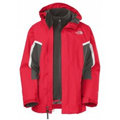 aac92d0002d1 The North Face Boys Nimbostratus Triclimate 3-in-1 Jacket (TNF Red Graphite  Grey)