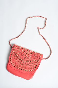 Coral Studded Chain & Leather Cross Body Purse