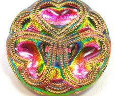 Czech glass button TriHeart in hot pink green & by OldeTymeNotions, $6.00